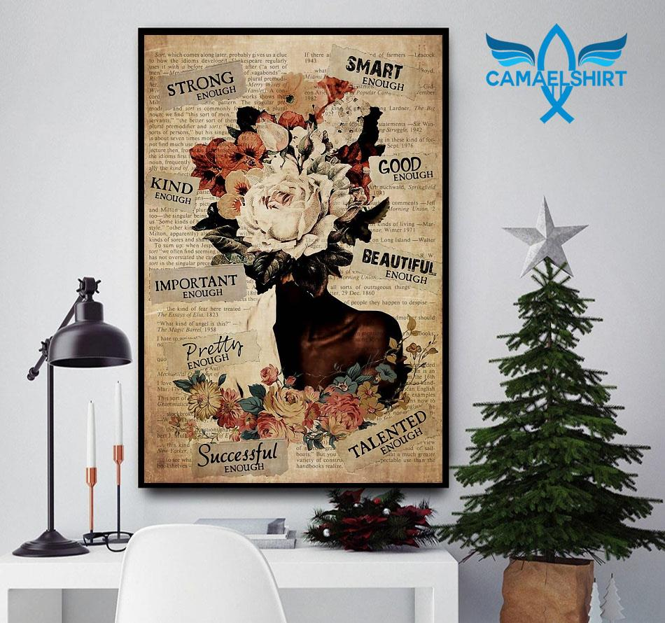 African American Woman flower pot head poster