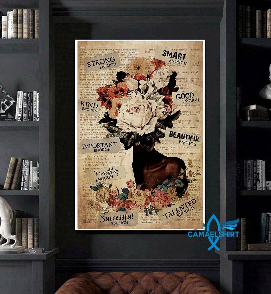 African American Woman flower pot head poster art