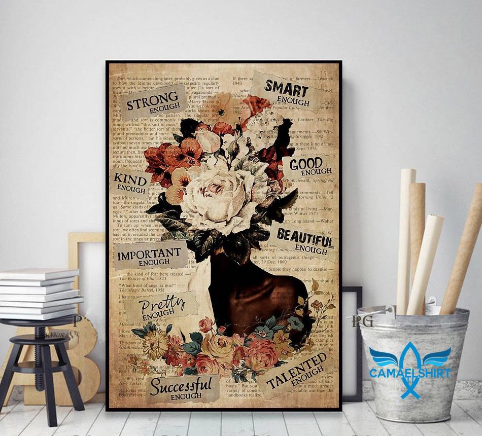 African American Woman flower pot head poster decor art