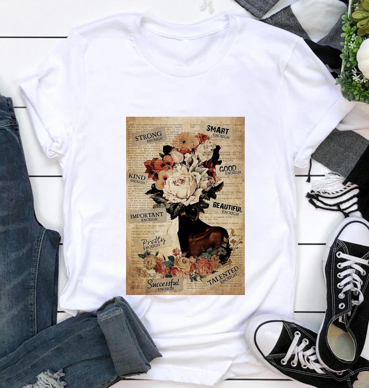 African American Woman flower pot head poster t-shirt