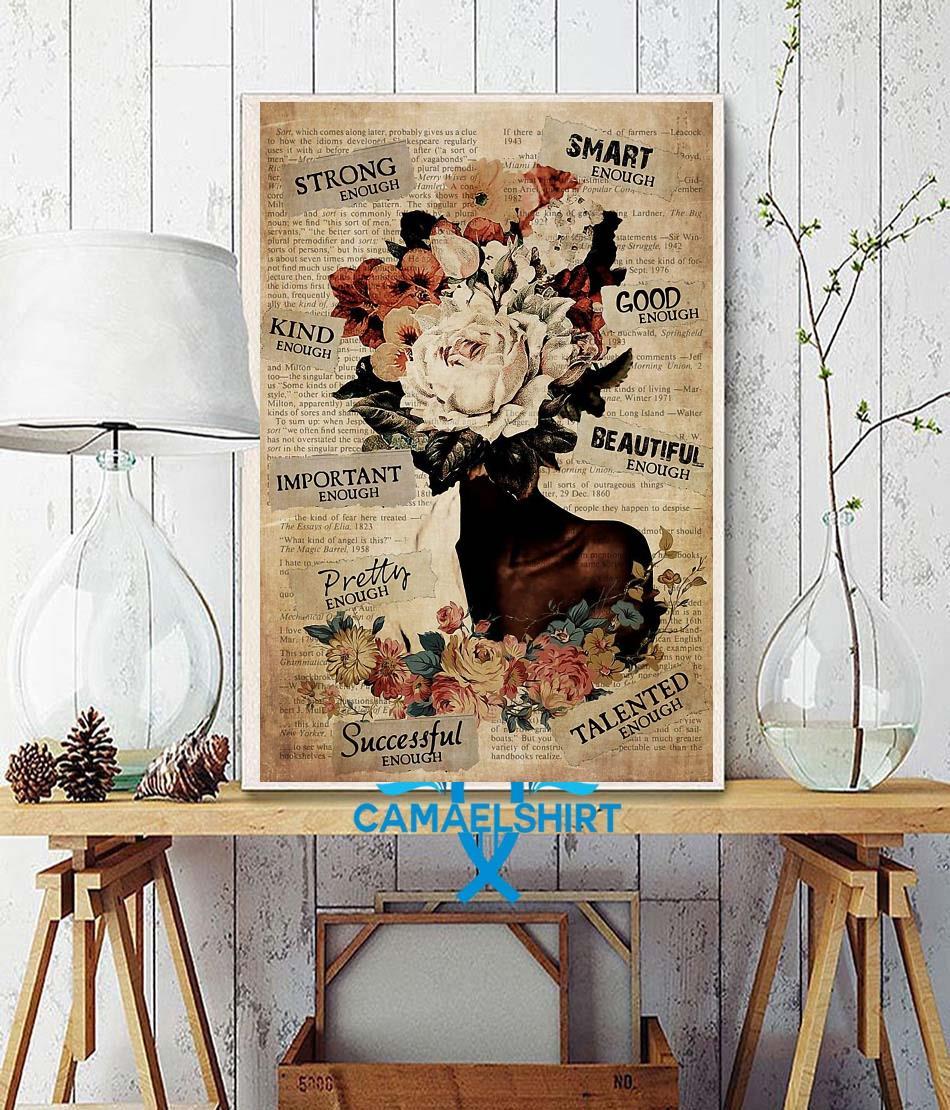 African American Woman flower pot head poster wall decor