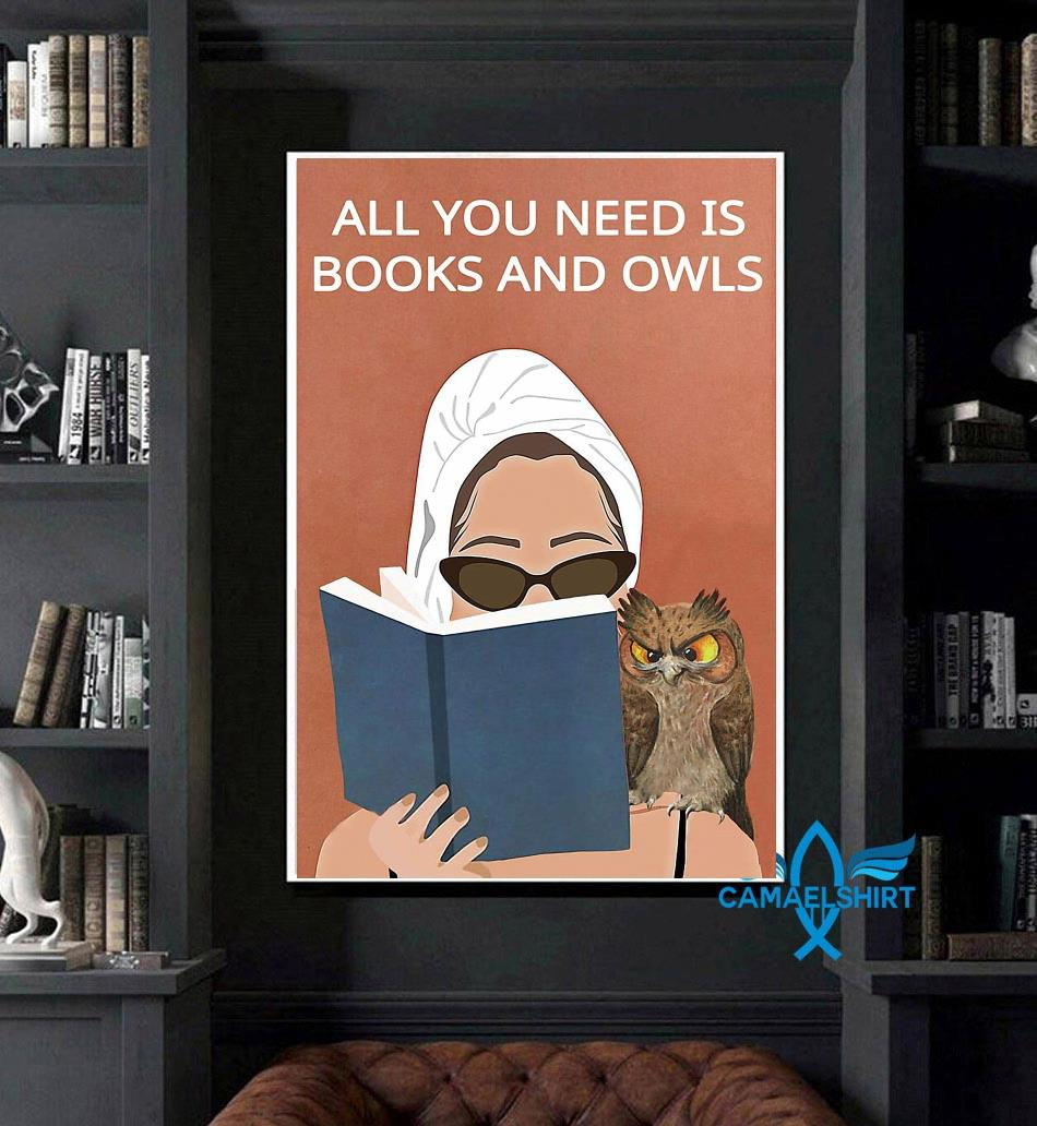 All you need is books and owls vintage poster art