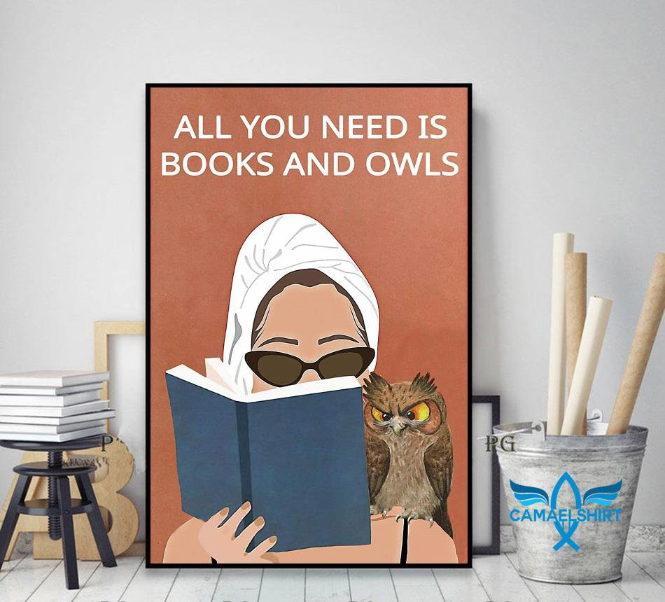 All you need is books and owls vintage poster decor art