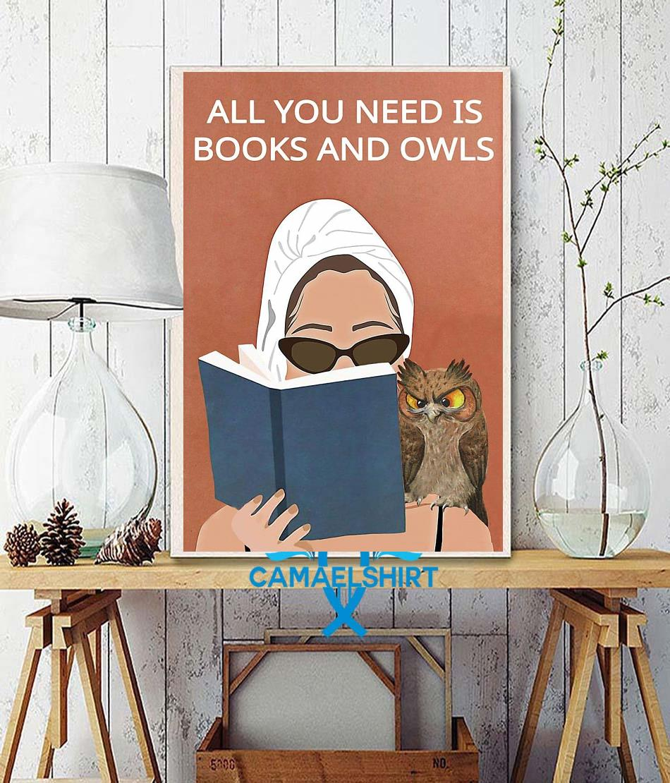 All you need is books and owls vintage poster wall decor