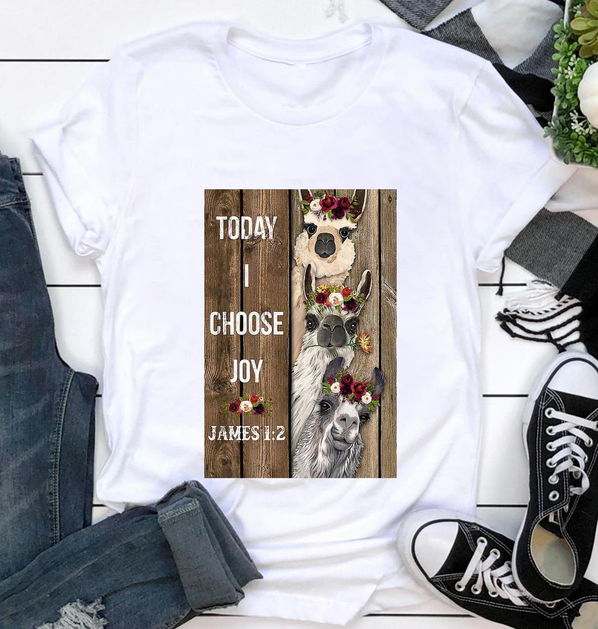 Alpaca flower today I choose joy poster t-shirt