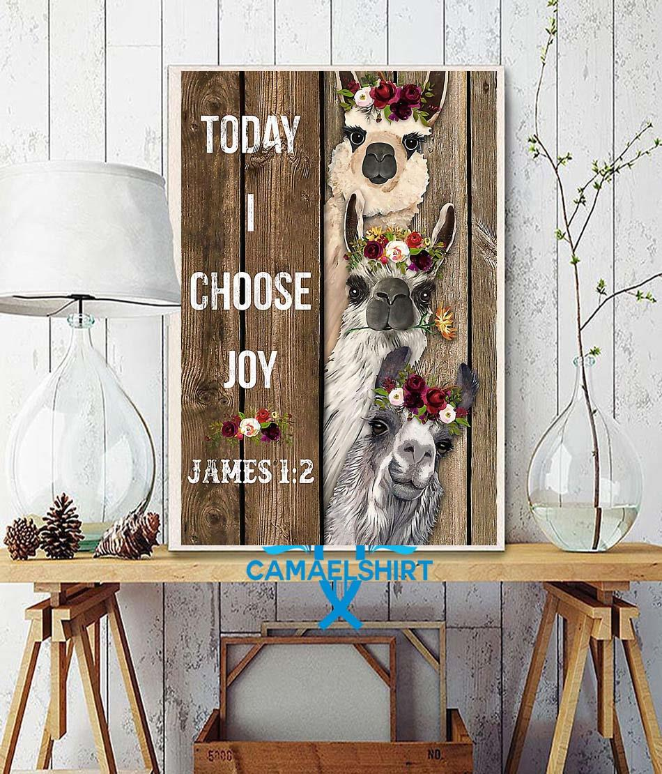 Alpaca flower today I choose joy poster wall decor