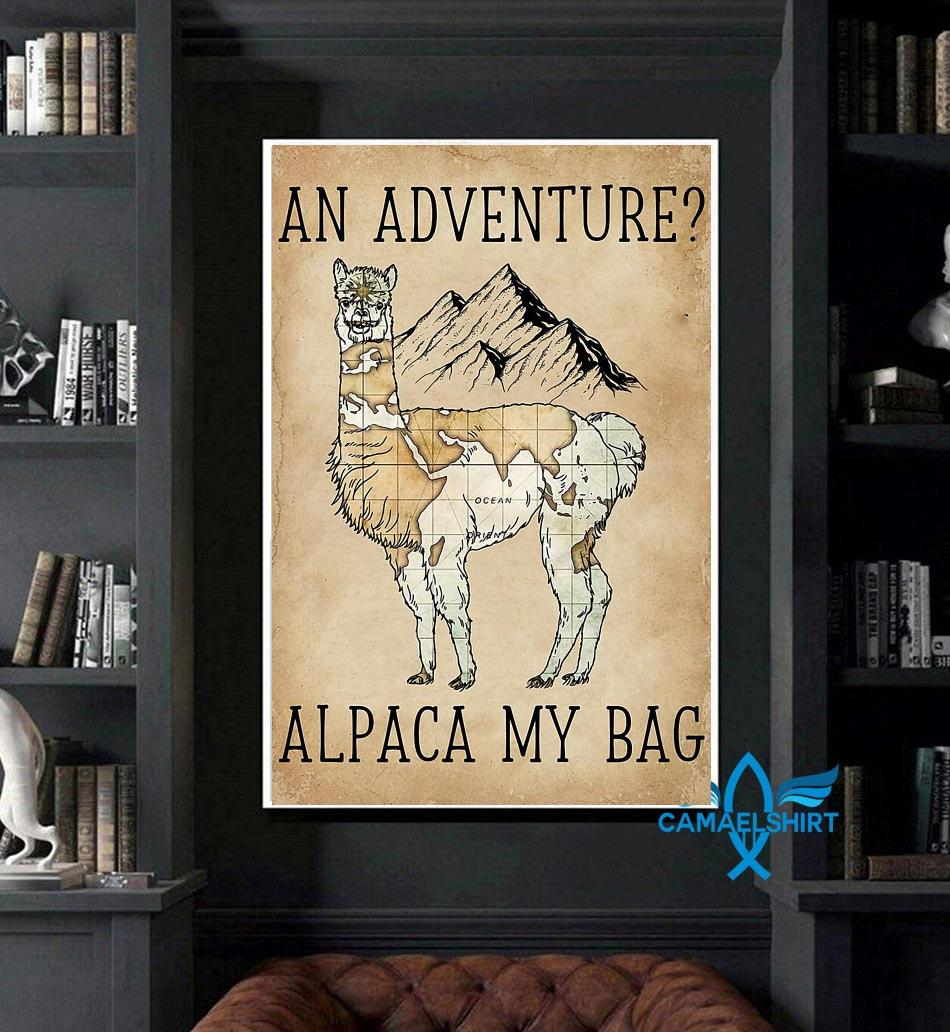 An adventure alpaca my bag poster canvas art