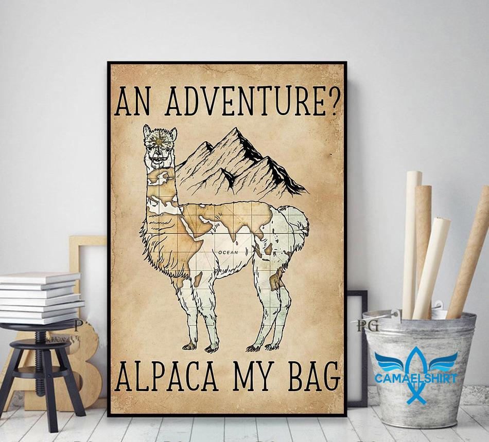 An adventure alpaca my bag poster canvas decor art