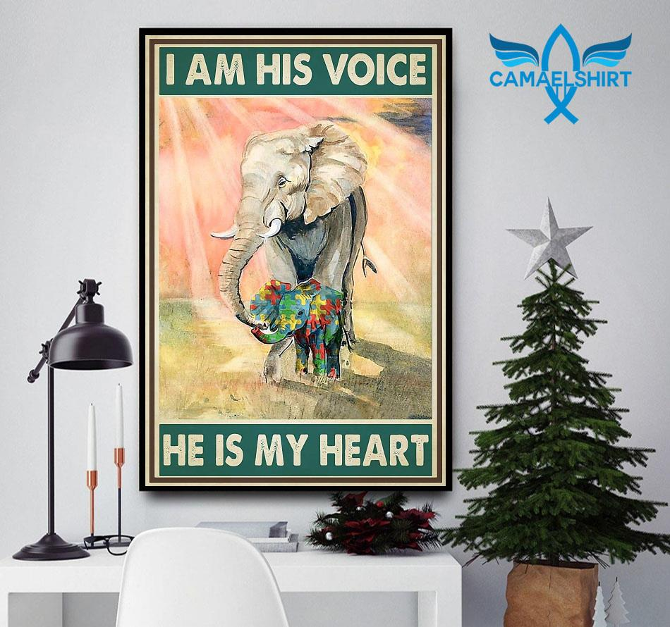 Autism elephants I'm his voice he is my heart poster