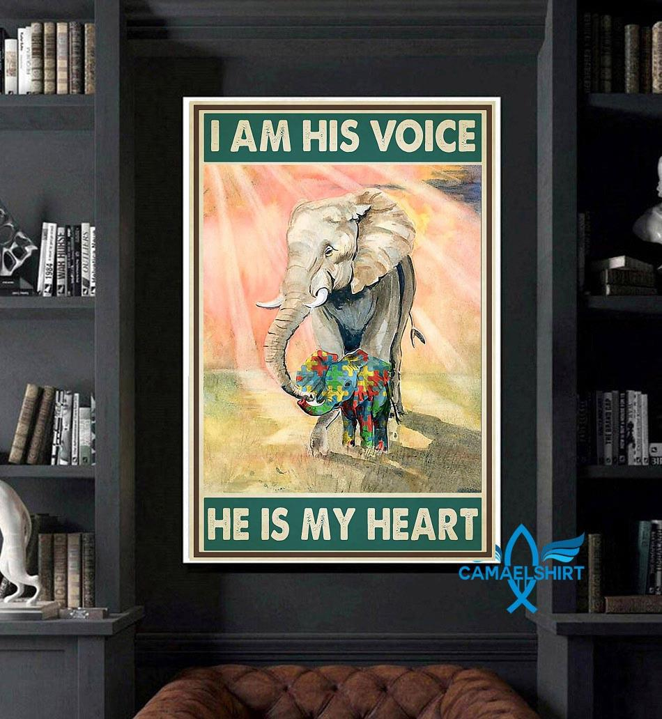 Autism elephants I'm his voice he is my heart poster art