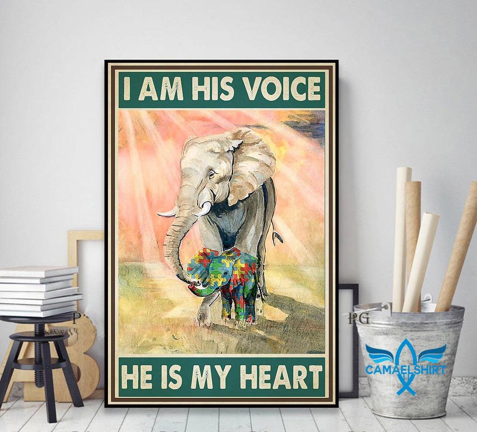 Autism elephants I'm his voice he is my heart poster decor art