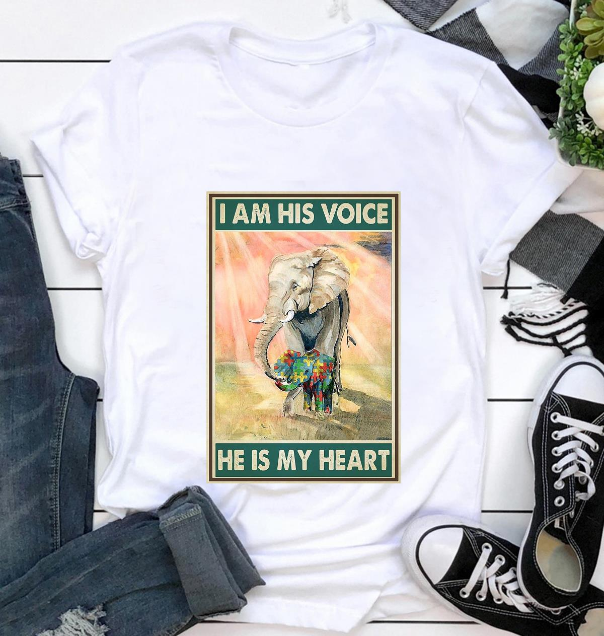 Autism elephants I'm his voice he is my heart poster t-shirt