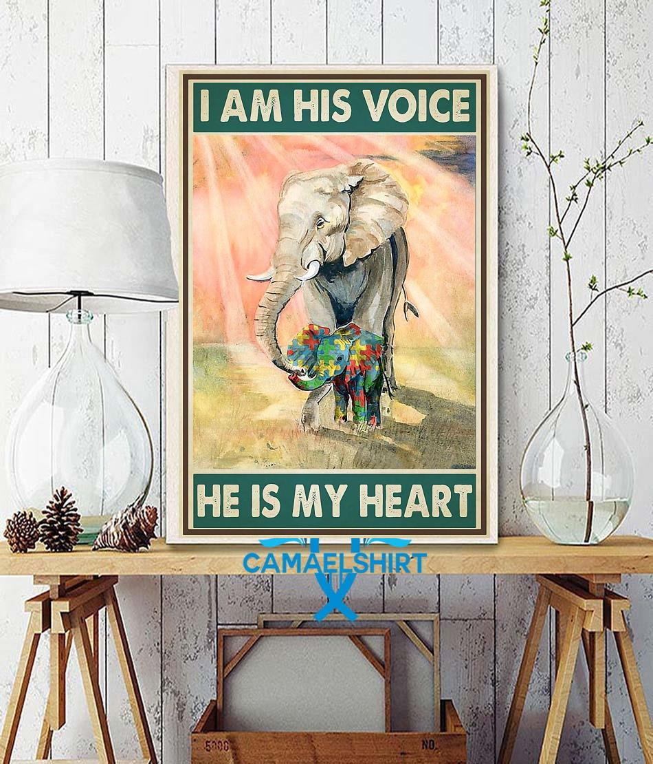 Autism elephants I'm his voice he is my heart poster wall decor