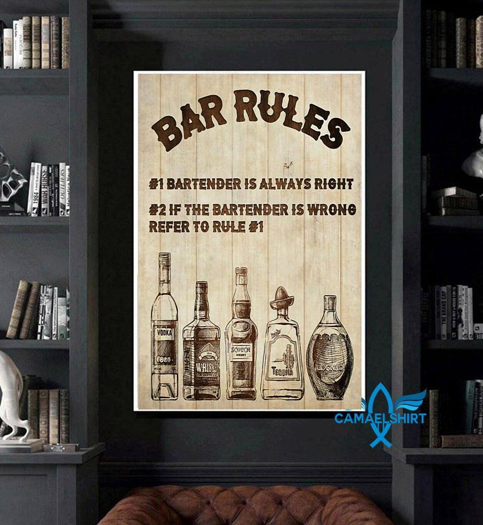 Bartender Bar Rules vertical poster art