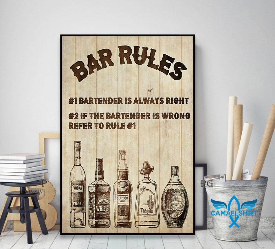 Bartender Bar Rules vertical poster decor art
