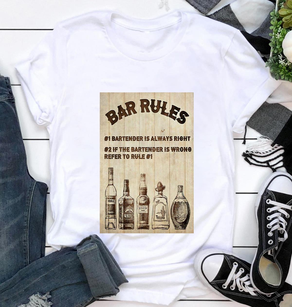 Bartender Bar Rules vertical poster t-shirt