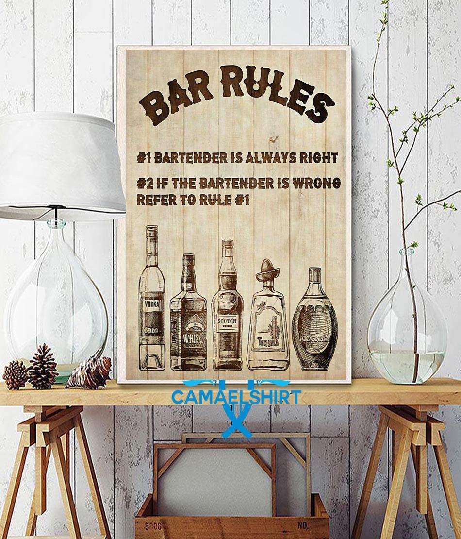 Bartender Bar Rules vertical poster wall decor