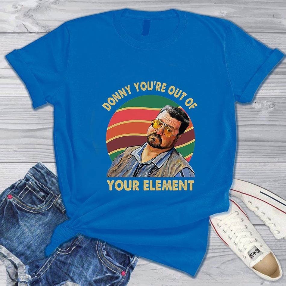 Big Lebowski Donny you're out of your element vintage t-s blue