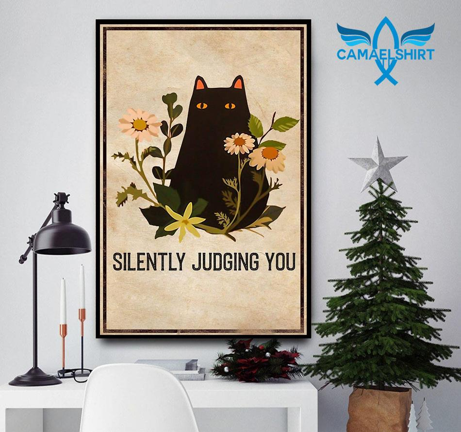Black cat silently judging you poster