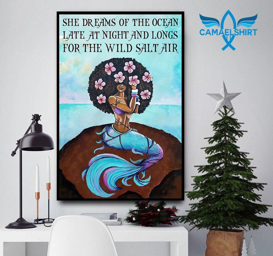 Black mermaid she dreams of the ocean late at night poster