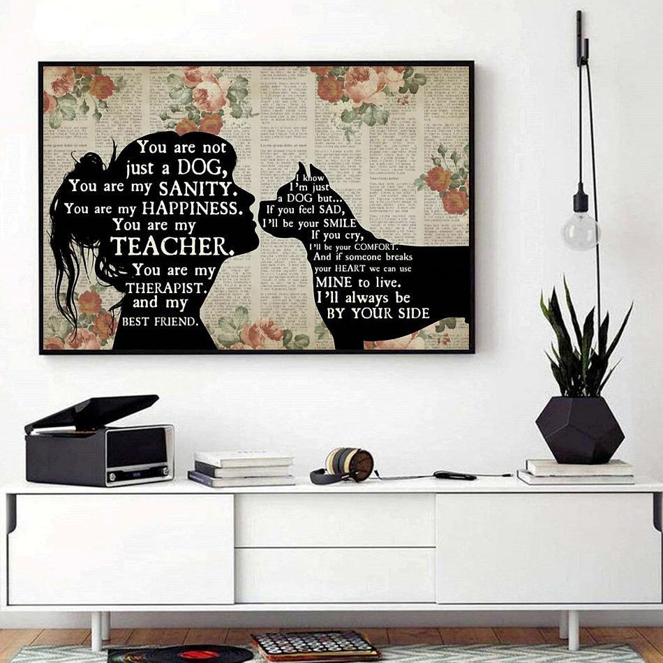 Boxer Girl Therapist Therapist Best Friend You are Not Just A Dog Poster// Canvas