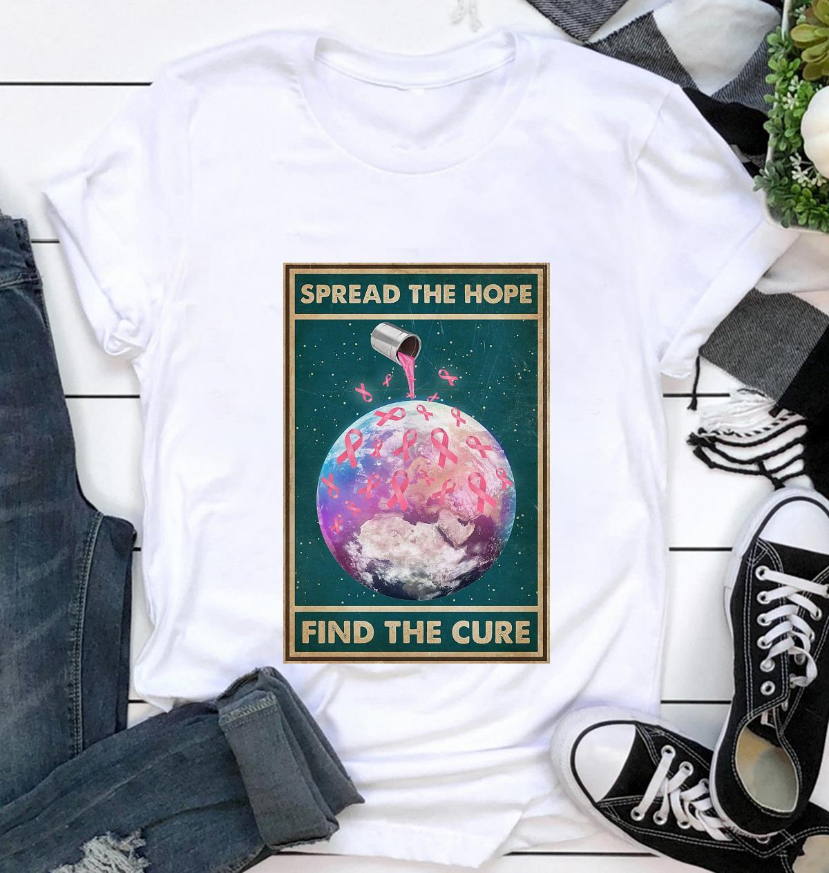 Breast Cancer spread the hope find the cure poster t-shirt