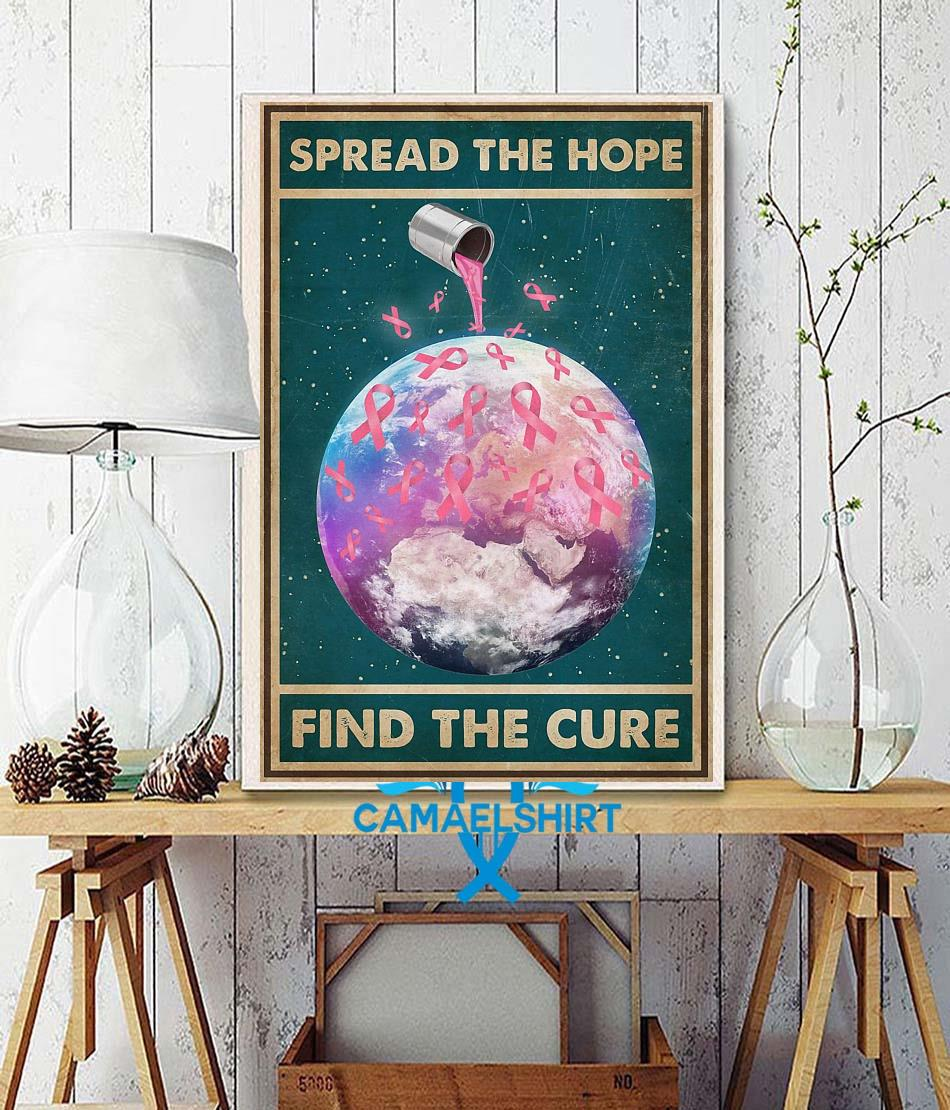 Breast Cancer spread the hope find the cure poster wall decor