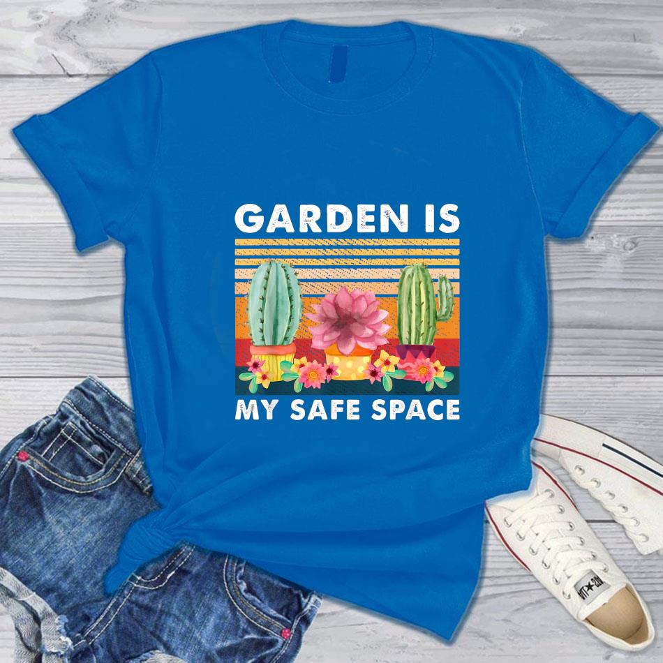 Cactus planting garden is my safe space vintage t-s blue
