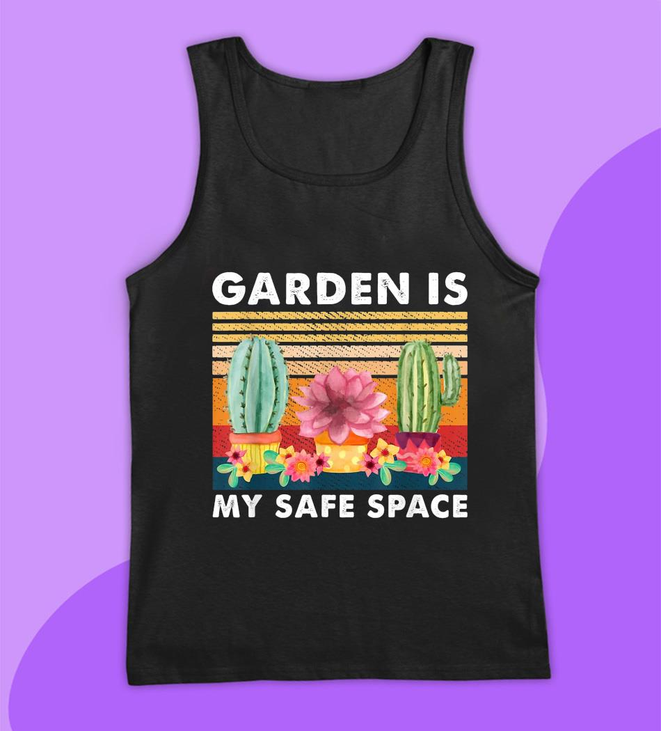 Cactus planting garden is my safe space vintage t-s tank top