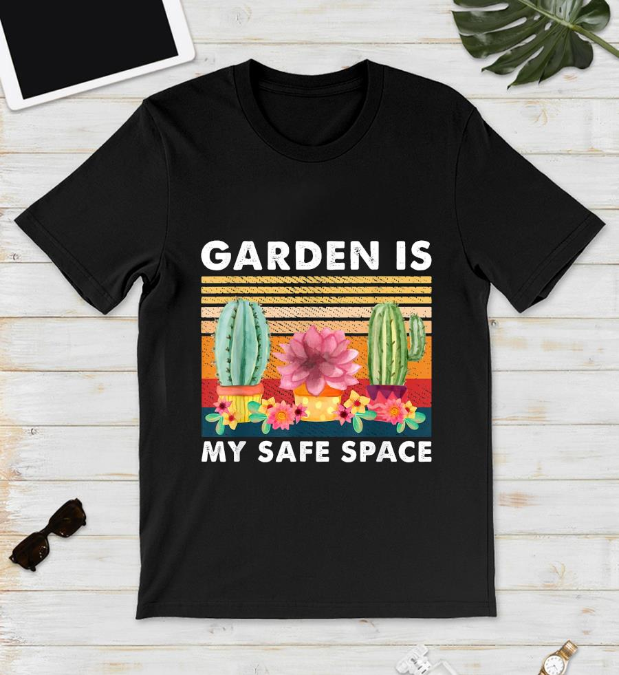 Cactus planting garden is my safe space vintage t-s unisex