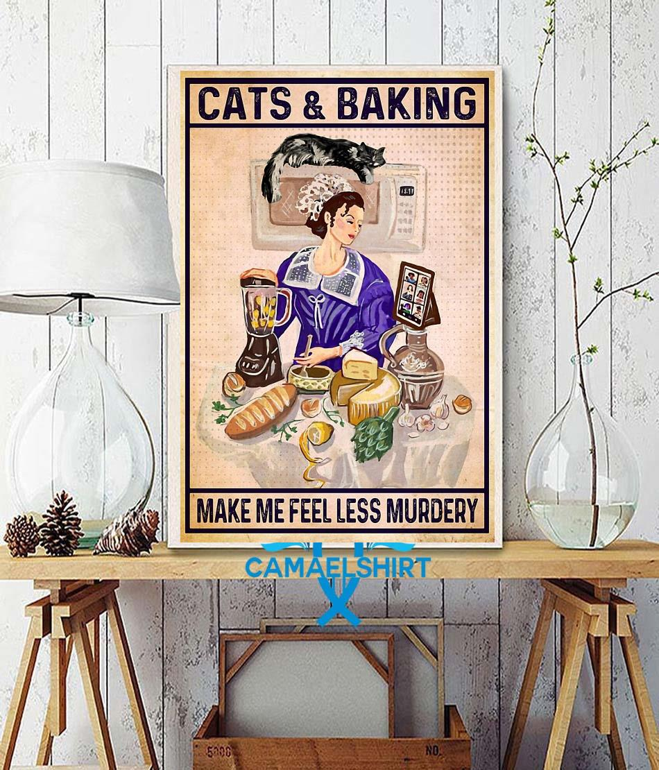 Cats baking make me feel less murdery canvas wall decor