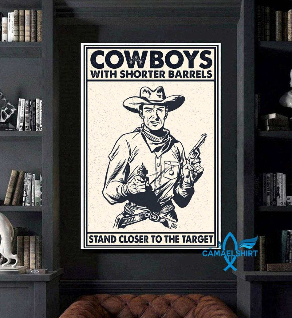 Cowboys with shorter barrels stand close to target poster art