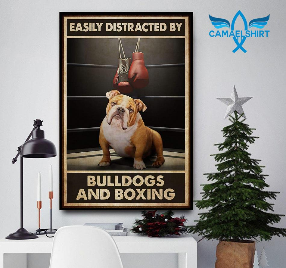 Easily distracted by bulldogs and boxing poster
