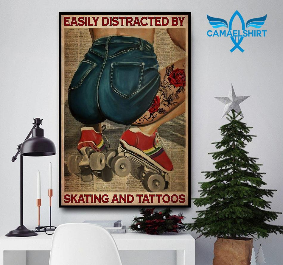 Easily distracted by skating and tattoos sport life poster