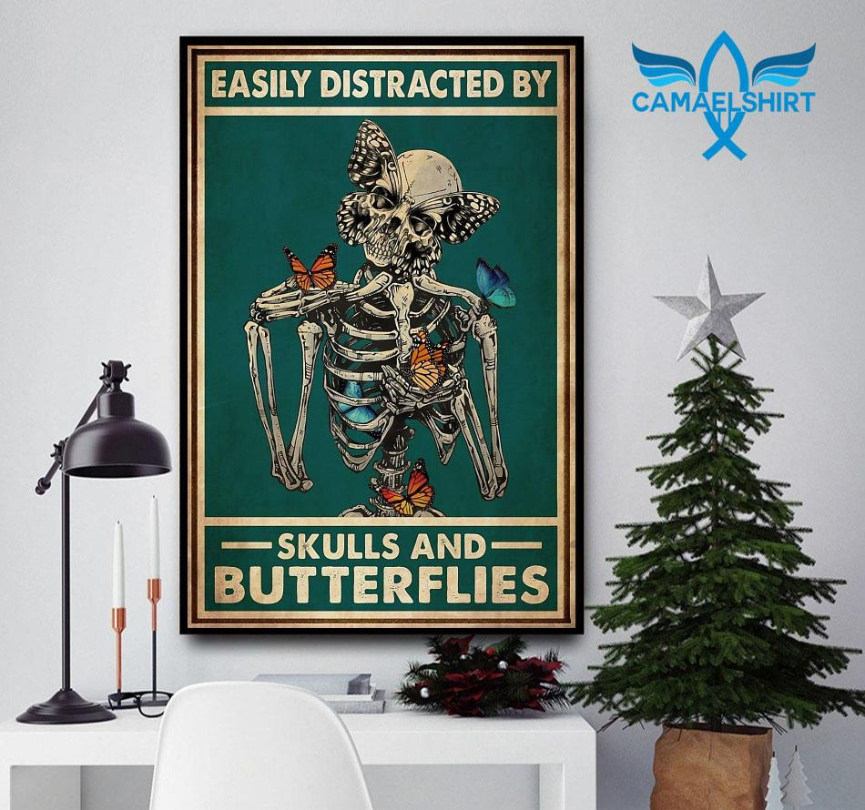 Easily distracted by skulls and butterflies tattoo poster