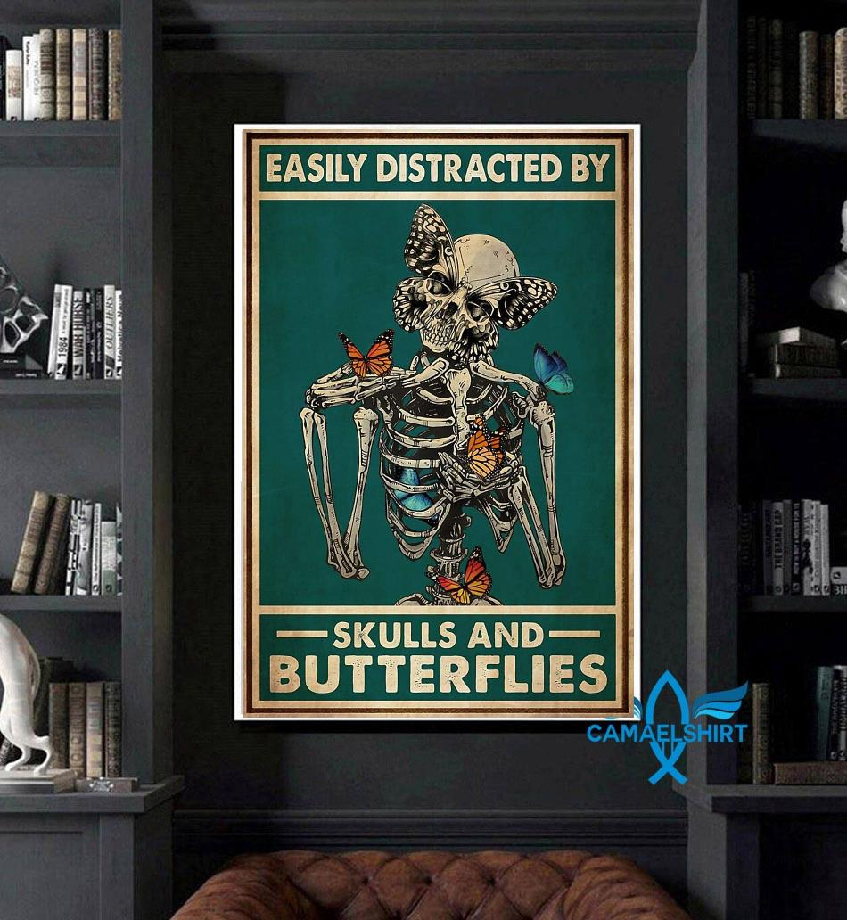 Easily distracted by skulls and butterflies tattoo poster art