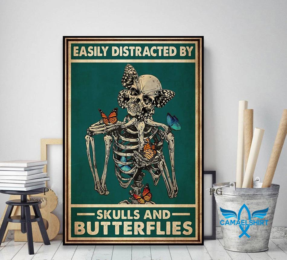 Easily distracted by skulls and butterflies tattoo poster decor art