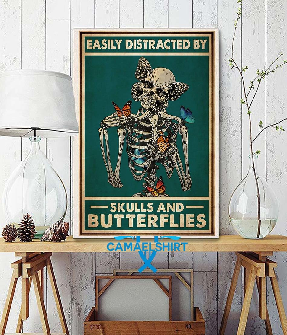 Easily distracted by skulls and butterflies tattoo poster wall decor