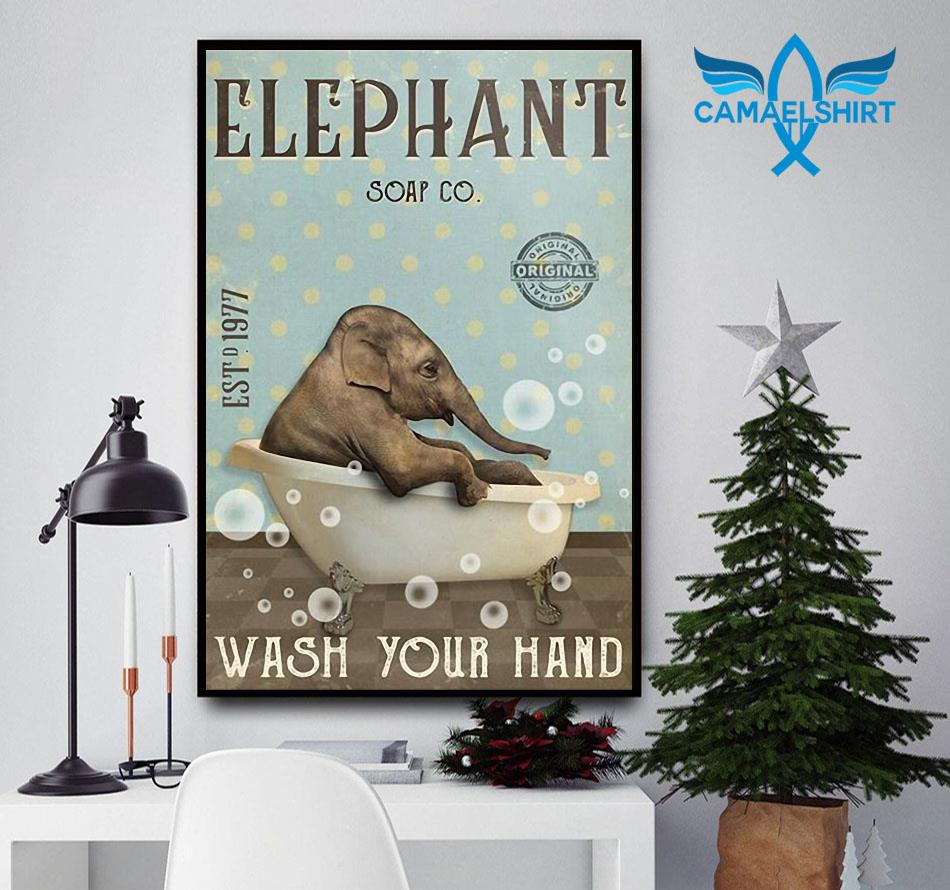 Elephant soap wash your hand poster