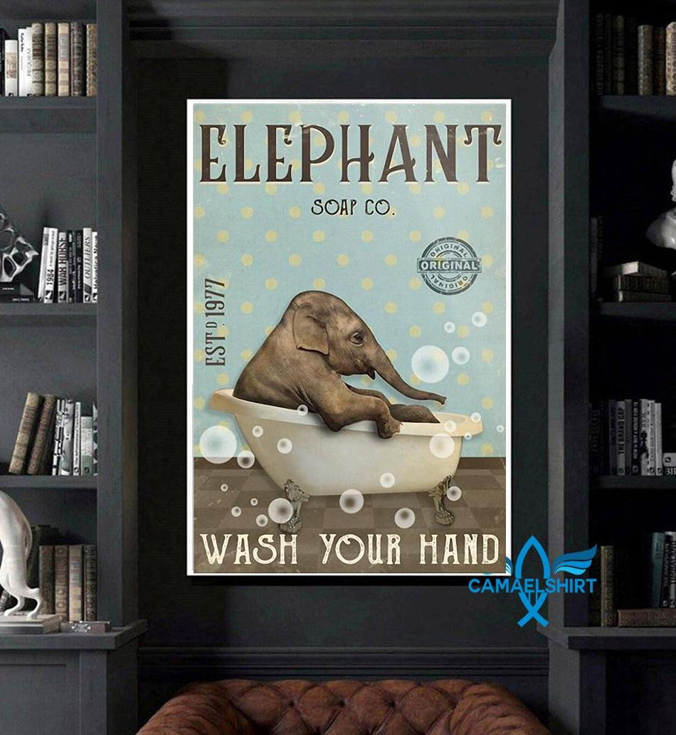 Elephant soap wash your hand poster art