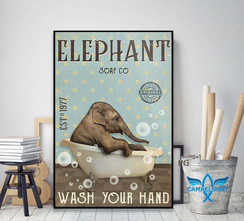 Elephant soap wash your hand poster decor art