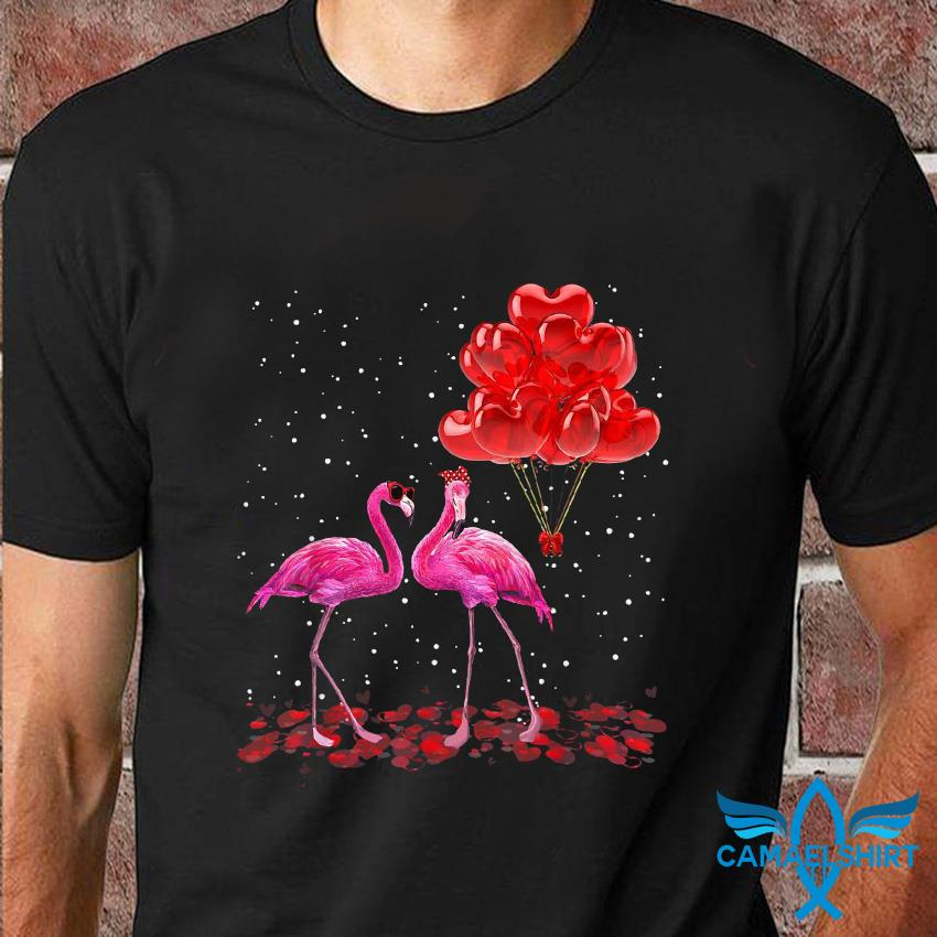 Flamingo couple love valentines t-shirt