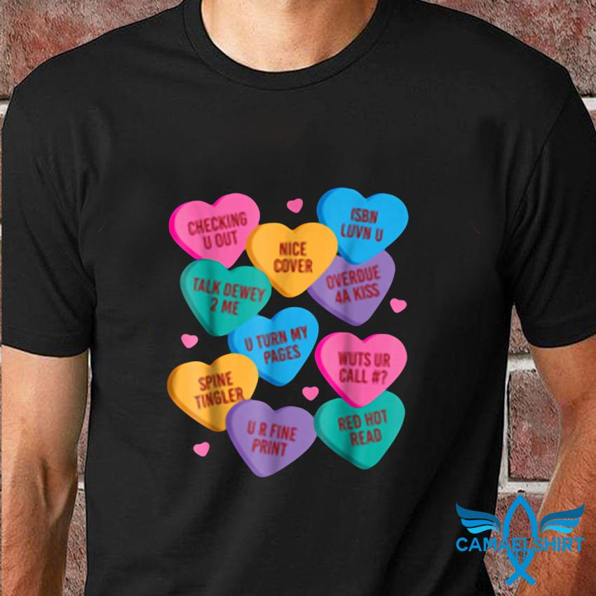 Funny librarian shirt valentines book worm reading t-shirt