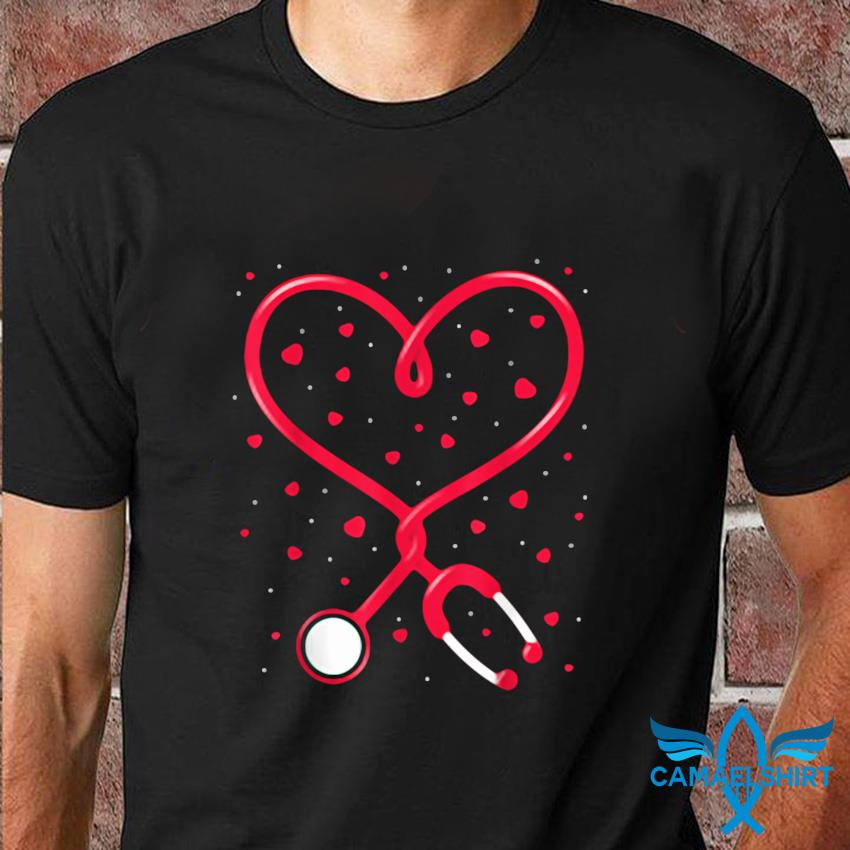 Funny nurse valentines day heart stethoscope t-shirt