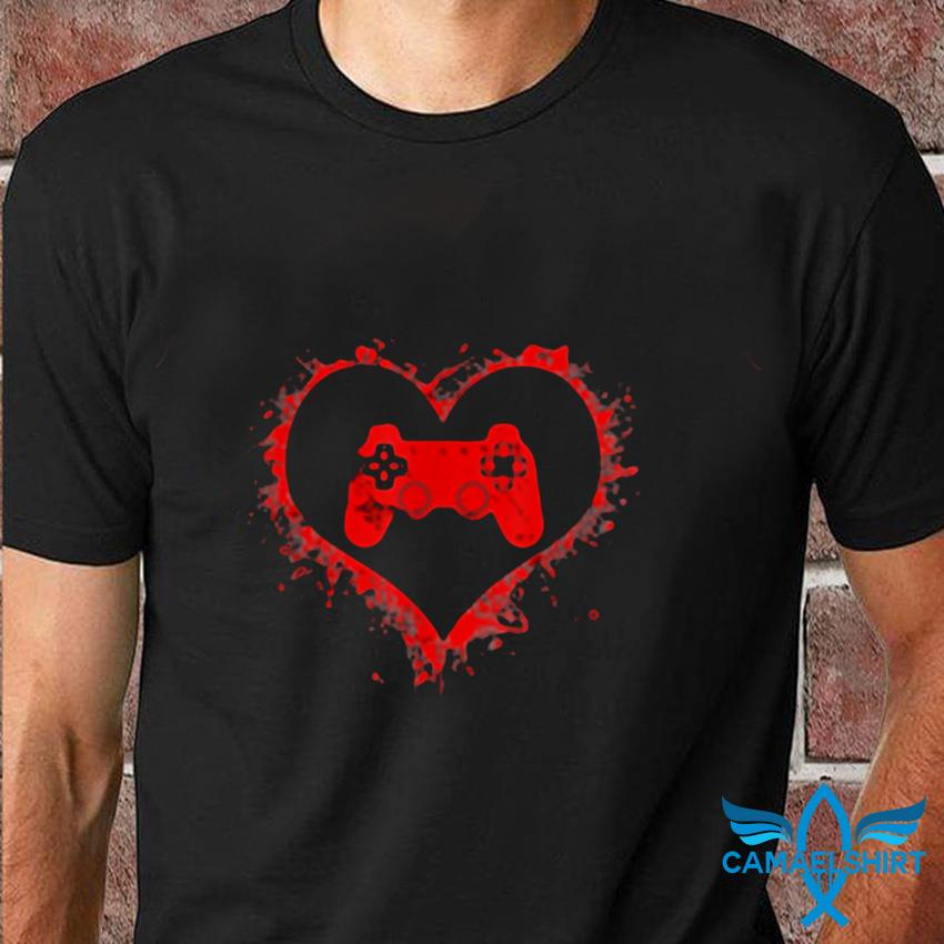 Gamer heart valentines day video games boys kids teens t-shirt