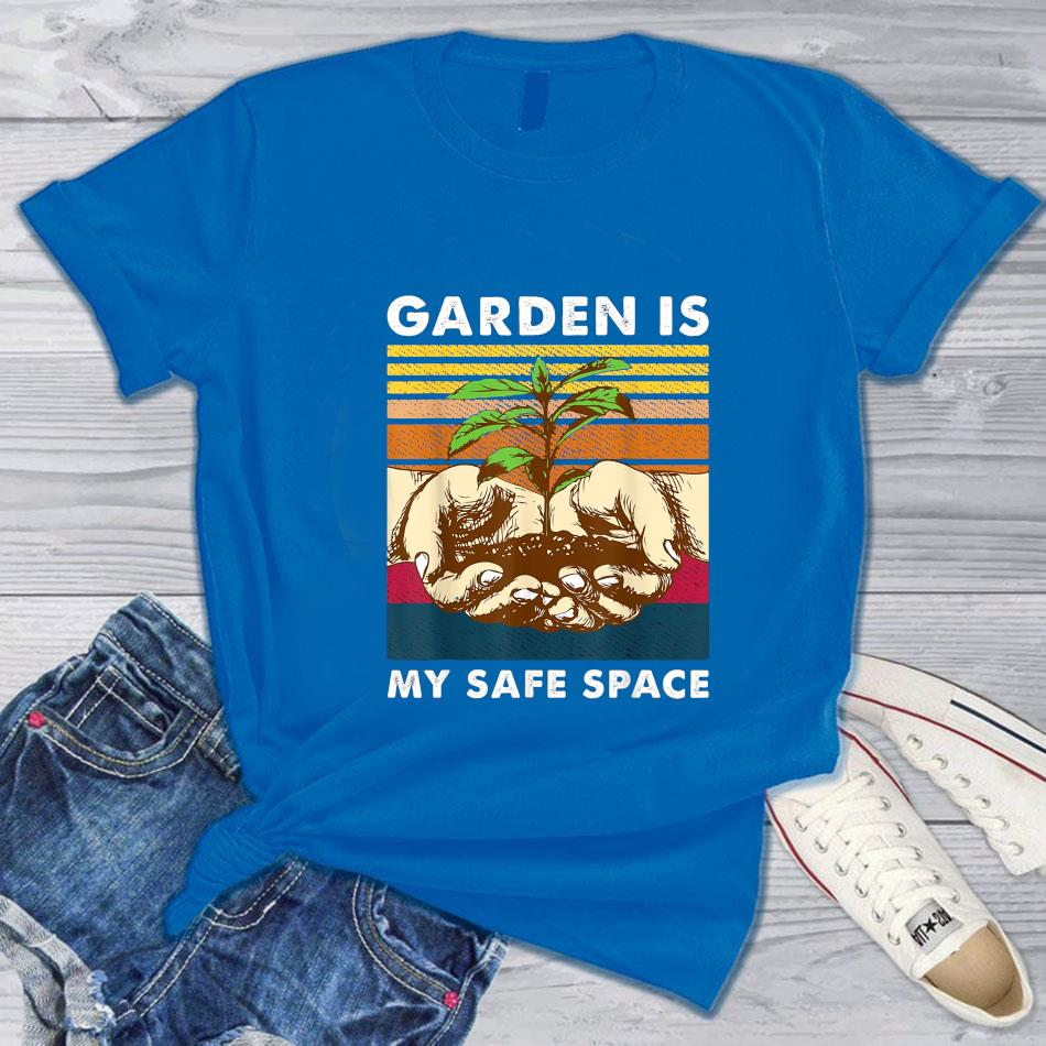 Garden is my safe space vintage t-s blue