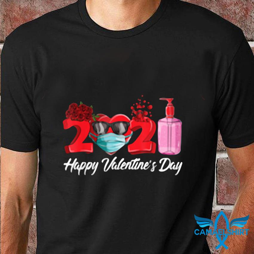 Heart in a mask happy valentines day 2021 t-shirt