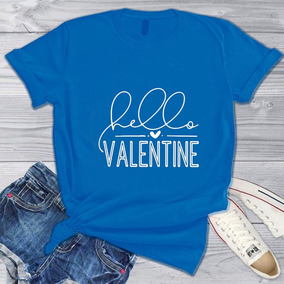 Hello Valentine 2021 black and white t-s blue