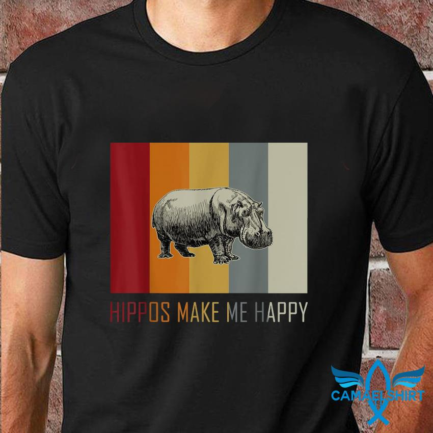 Hippos make me happy retro vintage t-shirt