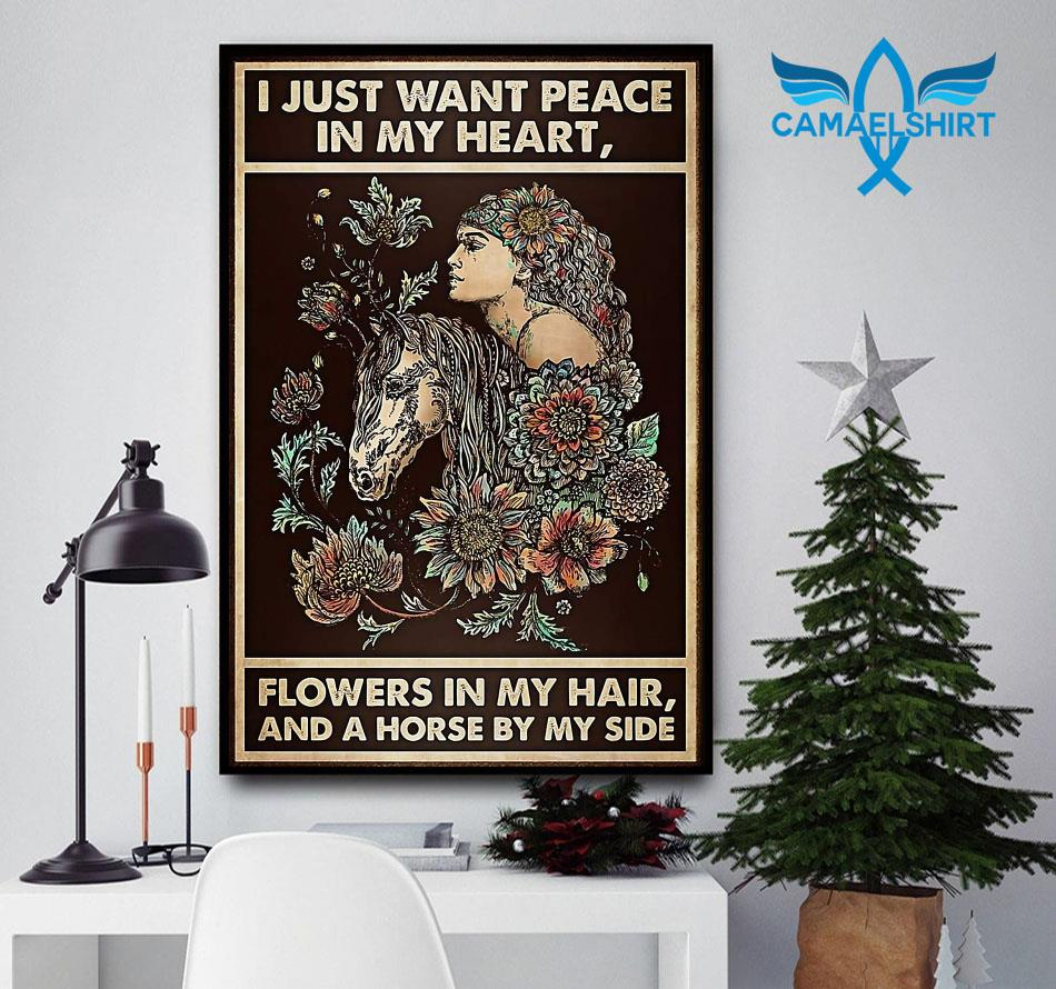 Horse girl I just want peace in my heart flower in my hair poster